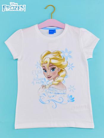 Biały t-shirt dla dziewczynki KRAINA LODU                                  zdj.                                  1