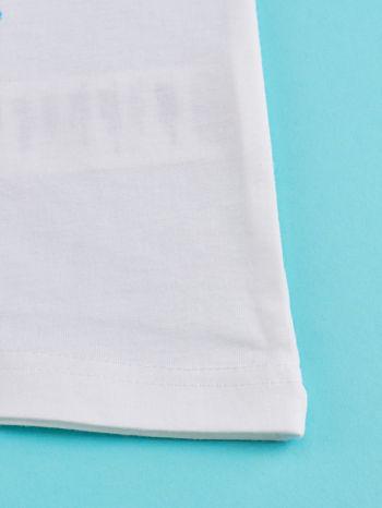 Biały t-shirt dla dziewczynki KRAINA LODU                                  zdj.                                  5