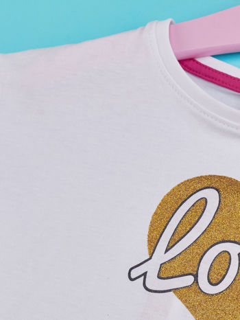 Biały t-shirt dla dziewczynki z napisem LOVE LIKE CRAZY                                  zdj.                                  4