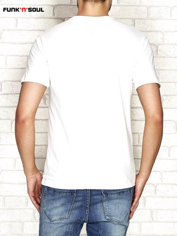 Biały t-shirt męski z nadrukiem FUNK N SOUL