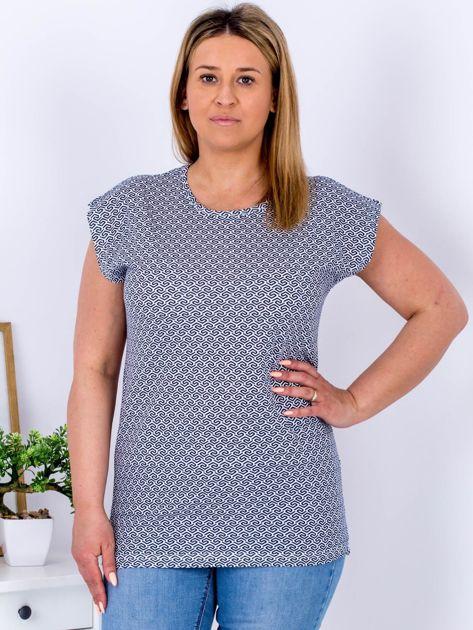 Biały t-shirt w geometryczne wzory PLUS SIZE                              zdj.                              1