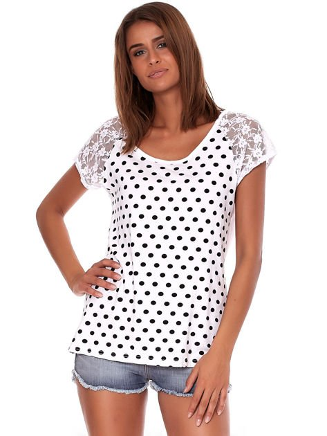 Biały t-shirt w grochy                              zdj.                              1