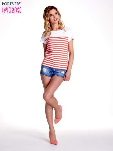 Biały t-shirt w poziome czerwone paski                                  zdj.                                  2