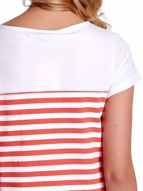 Biały t-shirt w poziome czerwone paski                                  zdj.                                  6