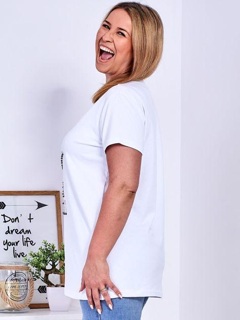 Biały t-shirt z błyszczącą gwiazdą PLUS SIZE                              zdj.                              5
