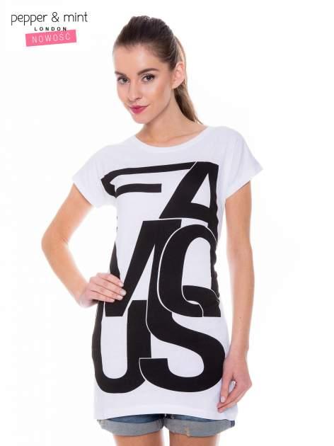 Biały t-shirt z dużym nadrukiem tekstowym FAMOUS                                  zdj.                                  1