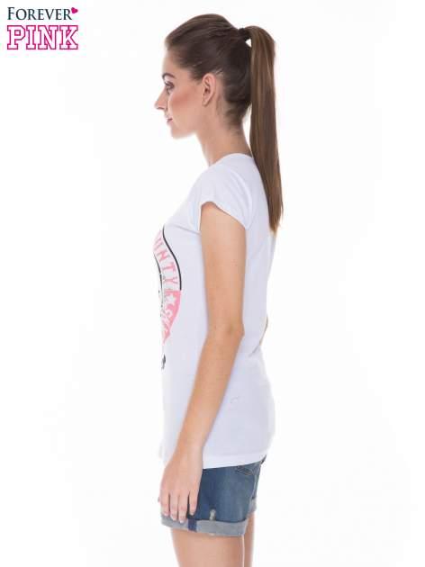 Biały t-shirt z dziewczęcym nadrukiem ROUGH DENIM                                  zdj.                                  3