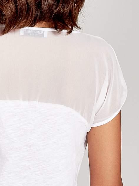 Biały t-shirt z górą mgiełką                                  zdj.                                  7