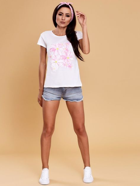Biały t-shirt z kolorowym kwiatowym nadrukiem                              zdj.                              4