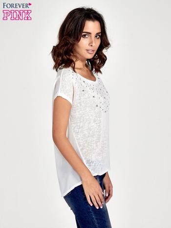 Biały t-shirt z kryształkami                                  zdj.                                  3