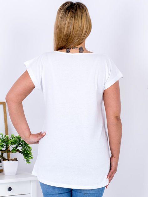 Biały t-shirt z kwiatowym printem PLUS SIZE                                  zdj.                                  2