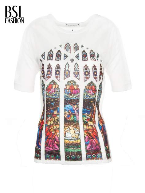 Biały t-shirt z motywem religijnym                                  zdj.                                  2