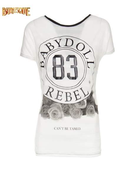 Biały t-shirt z nadrukiem BABYDOLL REBEL 83                                  zdj.                                  7