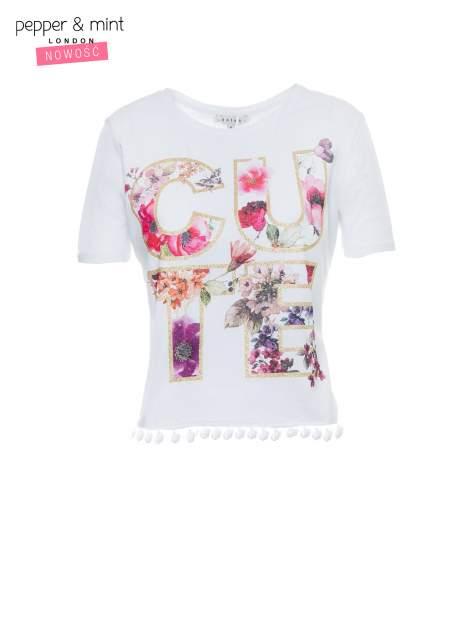 Biały t-shirt z nadrukiem CUTE i pomponami w stylu etno                                  zdj.                                  2