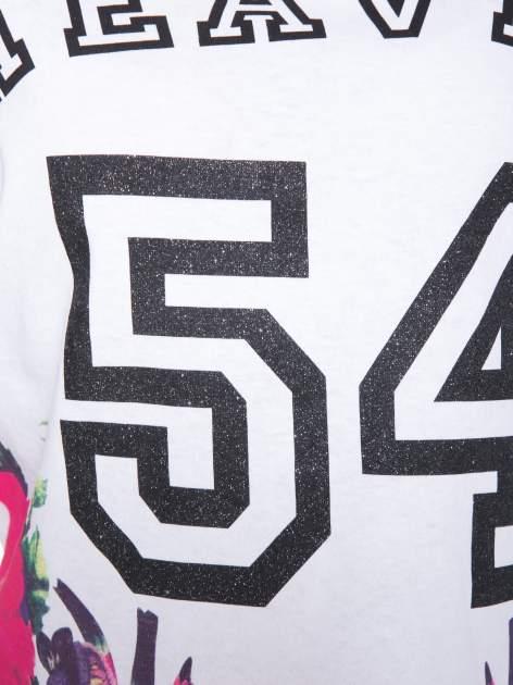 Biały t-shirt z nadrukiem HEAVEN 54 w stylu eclectic                                  zdj.                                  7
