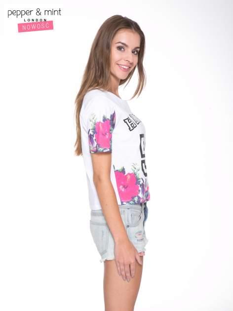 Biały t-shirt z nadrukiem HEAVEN 54 w stylu eclectic                                  zdj.                                  3