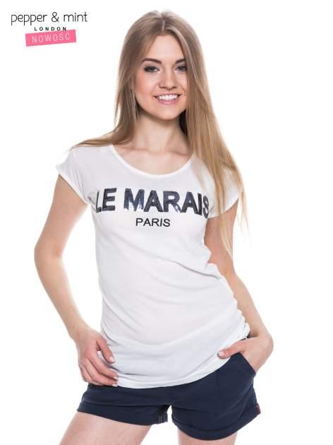 Biały t-shirt z nadrukiem LE MARAIS                                  zdj.                                  1