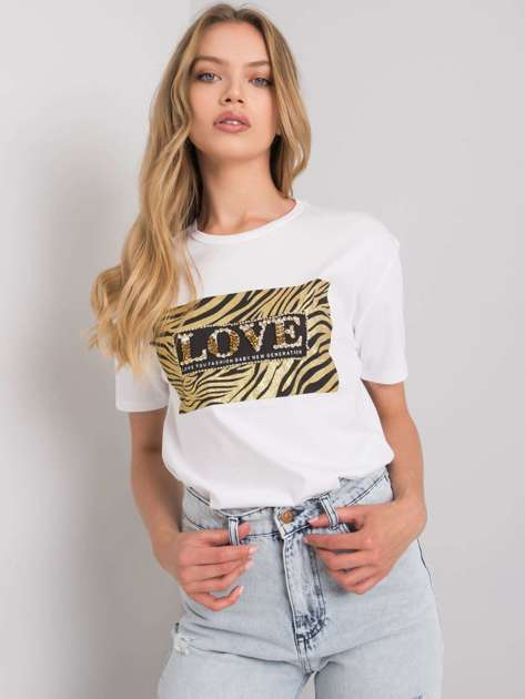 Biały t-shirt z nadrukiem Love