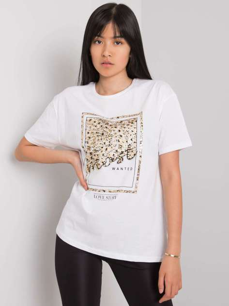 Biały t-shirt z nadrukiem Mary
