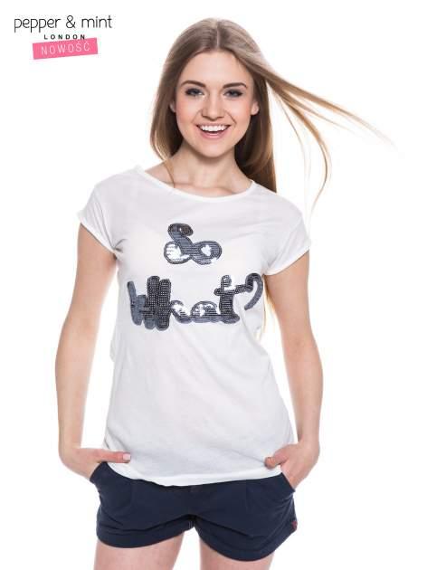 Biały t-shirt z nadrukiem SO WHAT?