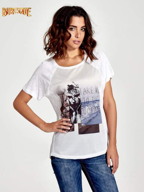 Biały t-shirt z nadrukiem TAKE ME TO THE OCEAN z dżetami                                  zdj.                                  1