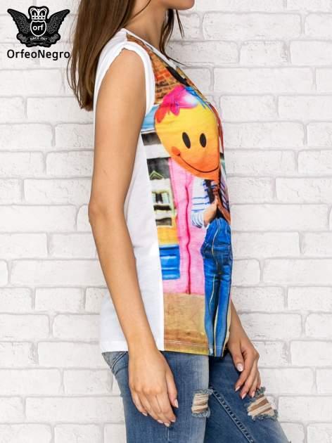 Biały t-shirt z nadrukiem dziewczyn z balonami                                  zdj.                                  4