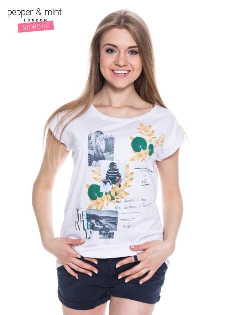 Biały t-shirt z nadrukiem i wydłużanym tyłem