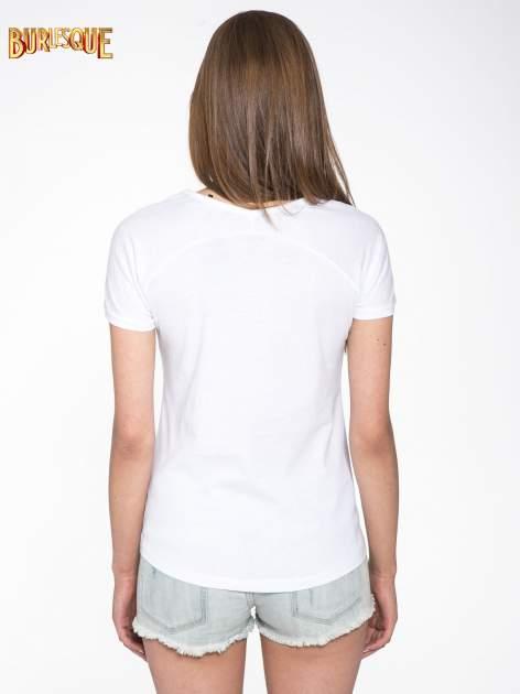 Biały t-shirt z nadrukiem kwiatowym PRETTY GIRL                                  zdj.                                  4