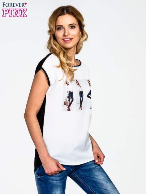 Biały t-shirt z nadrukiem modelki                                  zdj.                                  3
