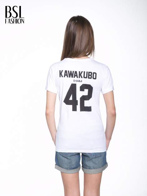 Biały t-shirt z nadrukiem numerycznym KAWAKUBO 42 z tyłu                                   zdj.                                  5