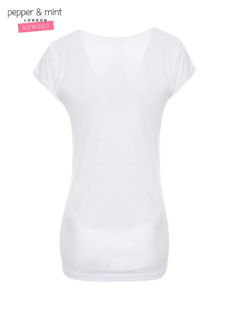 Biały t-shirt z nadrukiem tekstowym i koronkową górą                                  zdj.                                  5