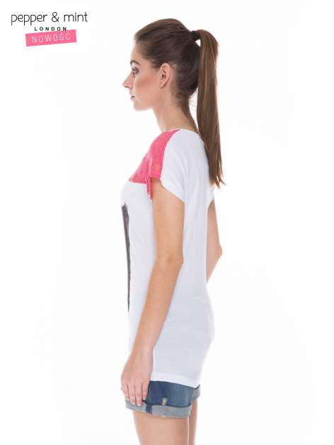 Biały t-shirt z nadrukiem tekstowym i koronkową górą                                  zdj.                                  3