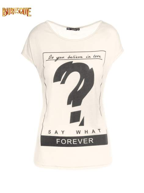 Biały t-shirt z napisem DO YOU BELIEVE IN LOVE?                                  zdj.                                  1