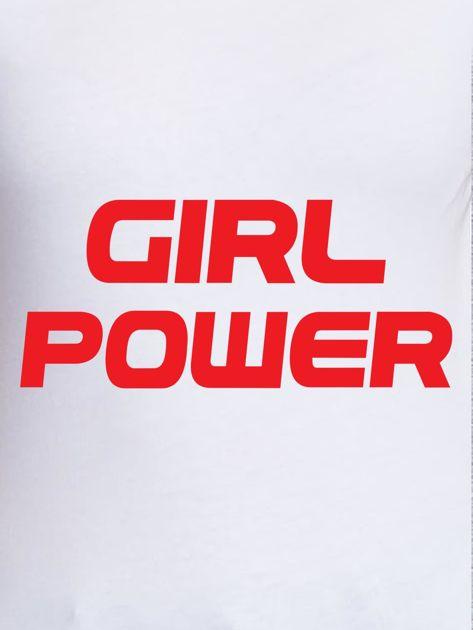 Biały t-shirt z napisem GIRL POWER                              zdj.                              2