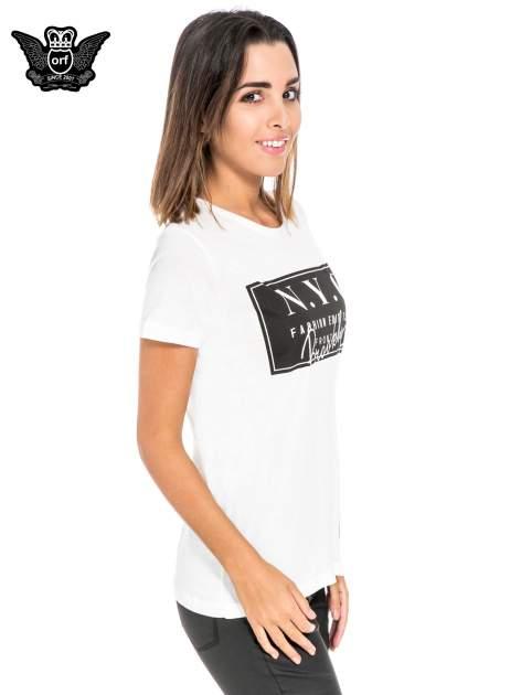Biały t-shirt z napisem NYC Brooklyn                                  zdj.                                  3