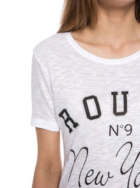 Biały t-shirt z napisem ROUTE NEW YORK                                  zdj.                                  5