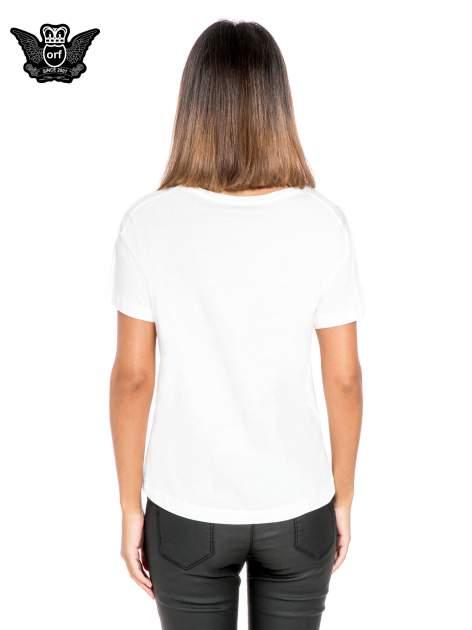 Biały t-shirt z napisem STOCKHOLM                                  zdj.                                  4
