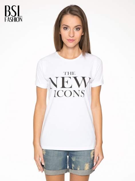 Biały t-shirt z napisem THE NEW ICONS