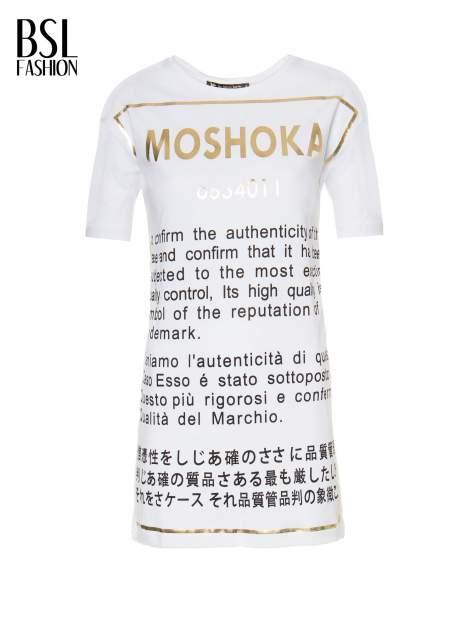 Biały t-shirt z tekstowym nadrukiem i znakami chińskimi                                  zdj.                                  2