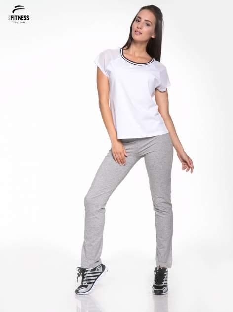 Biały t-shirt z transparentnymi rękawami                                  zdj.                                  5