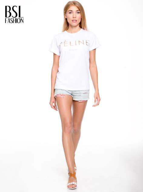Biały t-shirt ze złotym napisem FÉLINE MEOW                                  zdj.                                  5