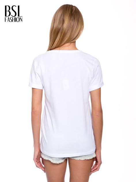 Biały t-shirt ze złotym napisem FÉLINE MEOW                                  zdj.                                  4
