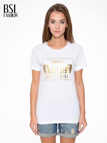 Biały t-shirt ze złotym napisem HOMIES SOUTH CENTRAL