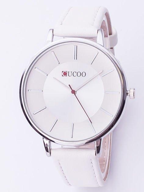 Biały zegarek damski z dużą tarczą