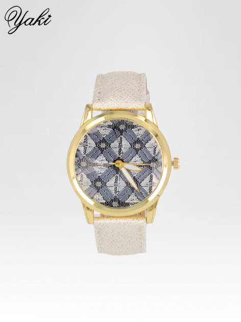 Biały zegarek damski ze złotą kopertą i etno tarczą                                  zdj.                                  1