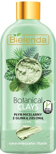 Bielenda Botanical Clays Zielona Glinka Płyn micelarny do twarzy cera tłusta i mieszana 500 ml