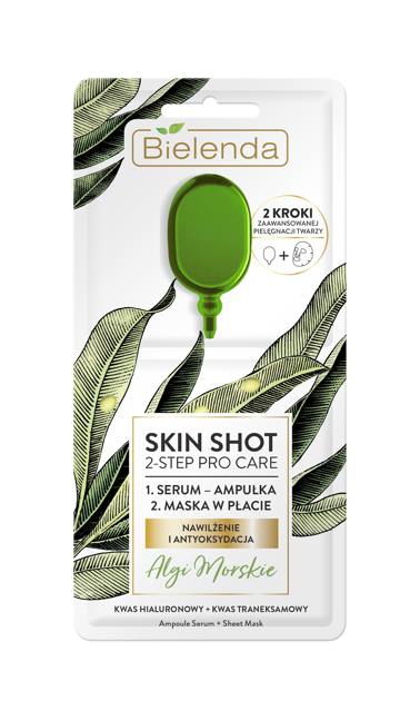 "Bielenda Skin Shot 2-Step Pro Care Maska w płacie + ampułka-serum Algi Morskie  1szt"""