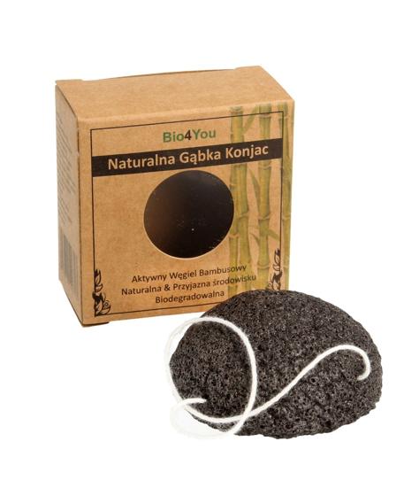 """Bio4You Naturalna Gąbka Konjac z aktywnym węglem bambusowym  1szt"""""""