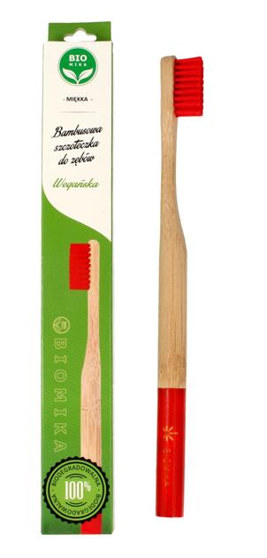 """Biomika Szczoteczka do zębów bambusowa miękka - czerwone włosie  1szt"""""""