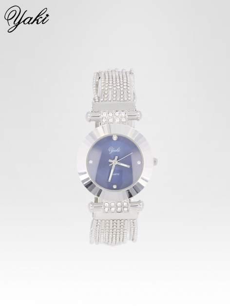 Biżuteryjny srebrny zegarek damski z granatową tarczą